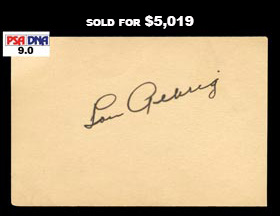 Lou Gehrig Boldly Signed Autograph Large Cut - PSA/DNA 9