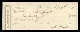 Extremely Rare Alexander Cartwright 1879 Signed Receipt - Full JSA LOA