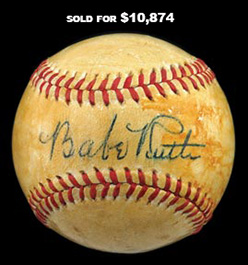 Babe Ruth Single-Signed OAL/Harridge Baseball with Dynamic Sweet Spot Signature-Full JSA