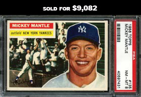 1956 Topps Baseball #135 Mickey Mantle (Gray Back) PSA NM-MT 8