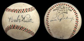 Spectacular 1928 Babe Ruth and Lou Gehrig Dual-Signed Official League Ball - Full JSA LOA