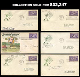 Incredible Collection of Signed Autographed First Day Covers with Babe Ruth, Cy Young, Ty Cobb, Johnny Evers, Honus Wagner and more