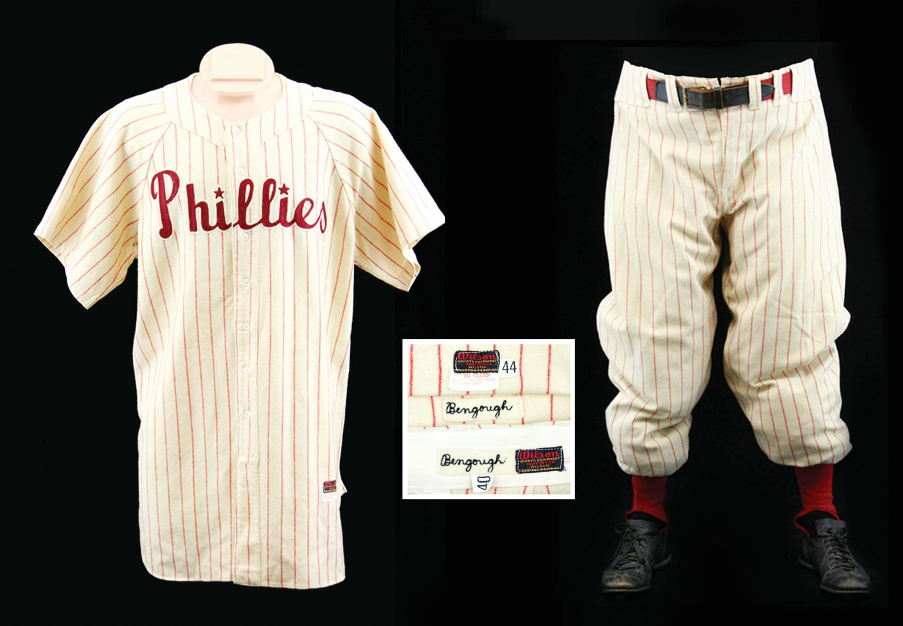 1950 Benny Bengough Philadelphia Phillies Coaches Uniform with Jersey, Pants, Shoes, Undershirt & stirrups