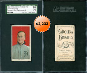 1909-11 T206 White Borders Ty Cobb (Red Portrait) with Carolina Brights Back SGC 20