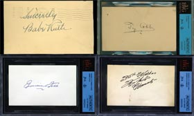 Babe Ruth, Ty Cobb, Jimmie Foxx, Roberto Clemente Signed Autographed Index Cards Collection
