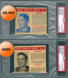 1952 Royal Desserts Hockey cards #5 Ted Lindsay and #6 Leo Reise PSA Authentic Only Graded