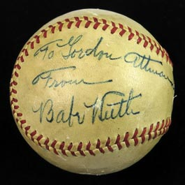Stunning Babe Ruth Single-Signed Ball with Personalization - Full JSA