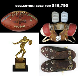 Sonny Jurgensen Personal Collection Including Game Balls, Trophies and Game Used Items
