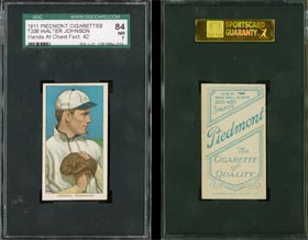 T206 Walter Johnson Tobacco Baseball Card SGC 84 with Rare Piedmont Factory 42 Back