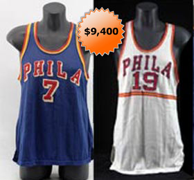 Philadelphia Warriors Game Worn Used Basketball Jerseys of Walt Budko Jerry Rullo